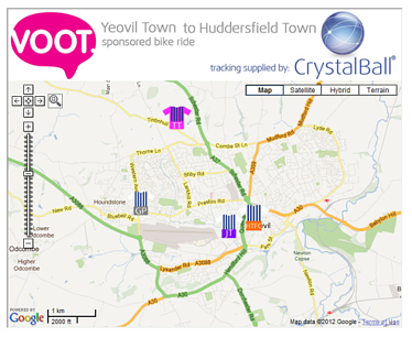 Pedal For Pounds Charity Tracking Map