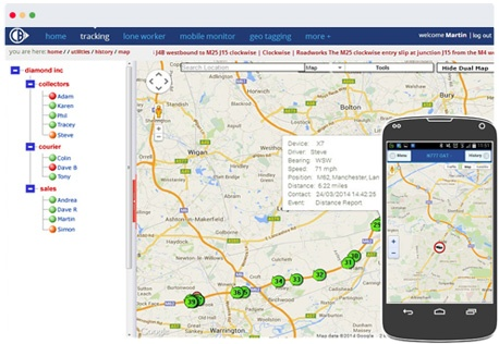 Mobile phone tracking screenshot with manager app