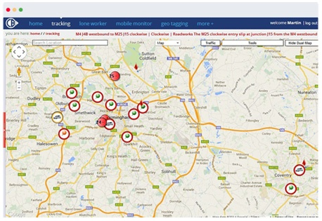 Mobile phone tracking screenshot