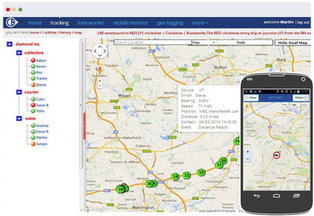Mobile phone tracking with manager app