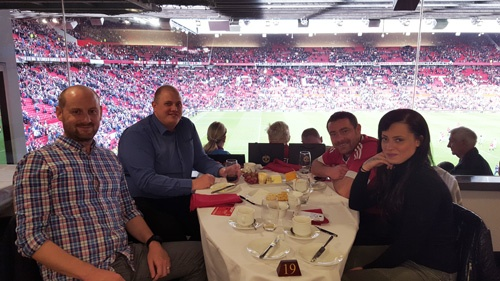 A champagne breakfast was enjoyed by all on Sunday morning at Old Trafford's Executive Club