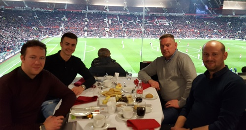 As Manchester Utd swept into the semi finals Crystal Ball and customer's enjoyed the thrilling game from the Executive Club